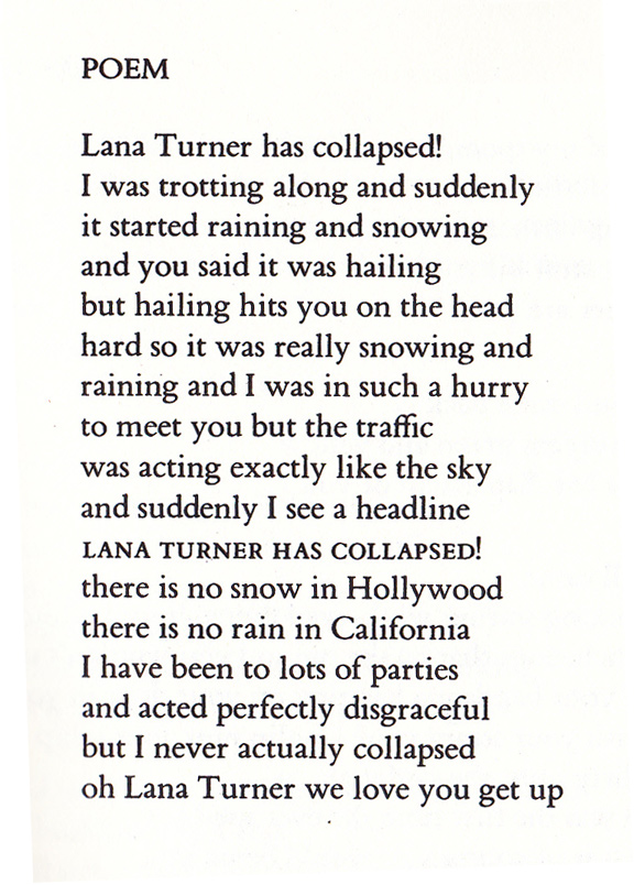 Poem (Lana Turner has collapsed!)